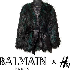 New BALMAIN x H&M Faux fur coat with belt
